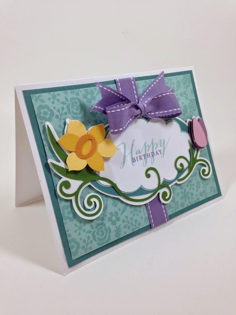 Cricut Floral Frame Birthday Card closeup sideview