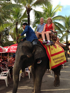 Mike and Gena on an elephant ride
