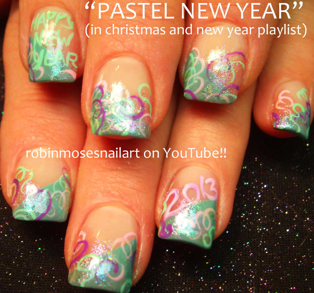 new year nail art, 2013 nail art, glitter nail art, glitzy nail art ...