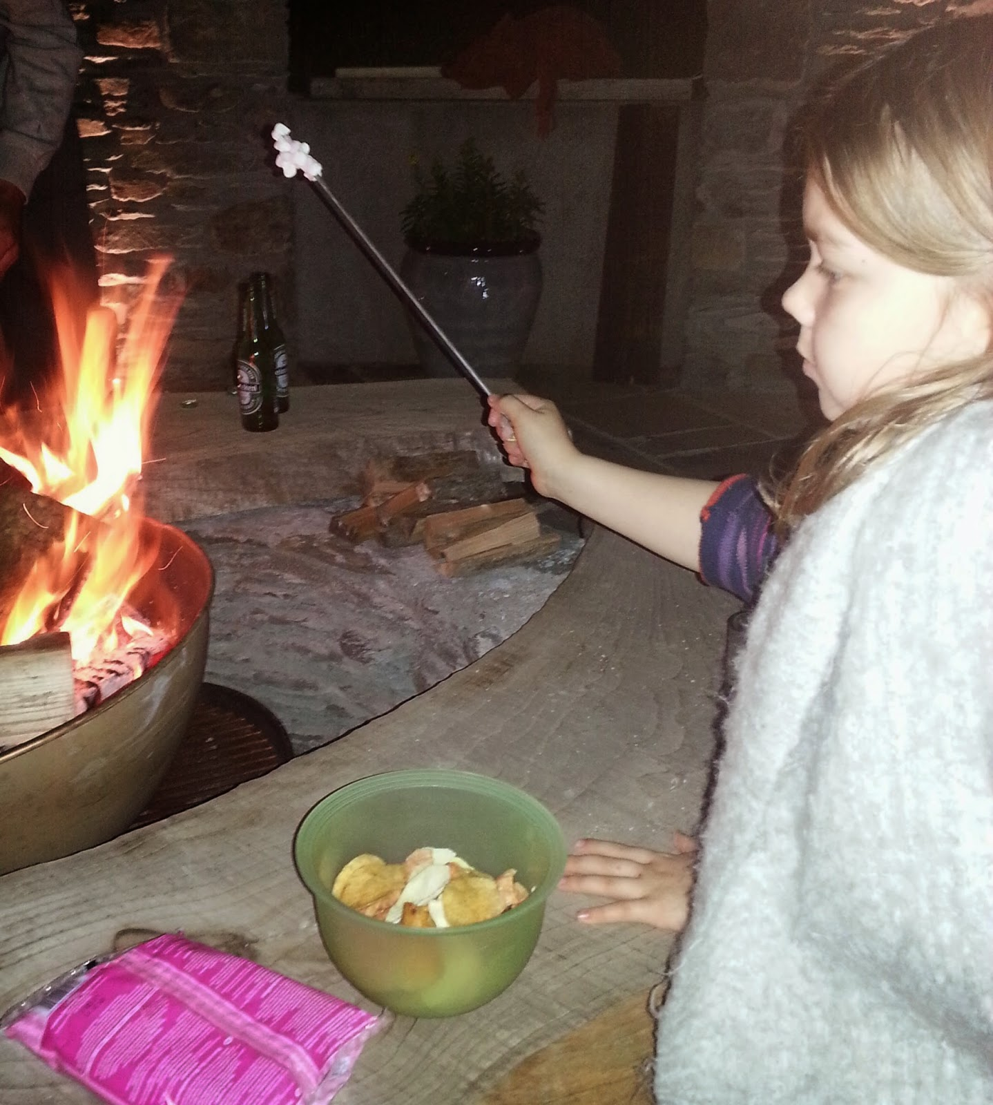 young girl toasting marshmallows over log fire