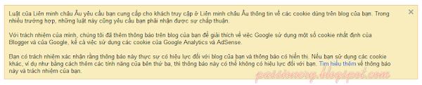 Tuỳ chỉnh popup thông báo EU Cookie cho Blogger