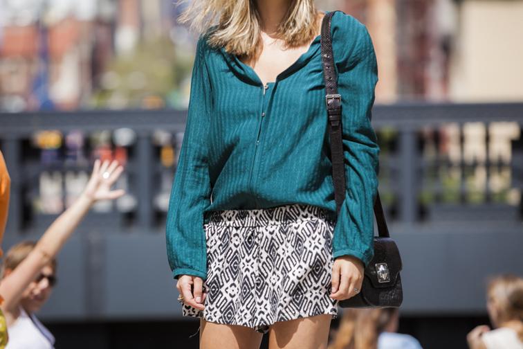 Chloe Silk Blouse Vintage Pattern Shorts Emm Kuo Python Bag