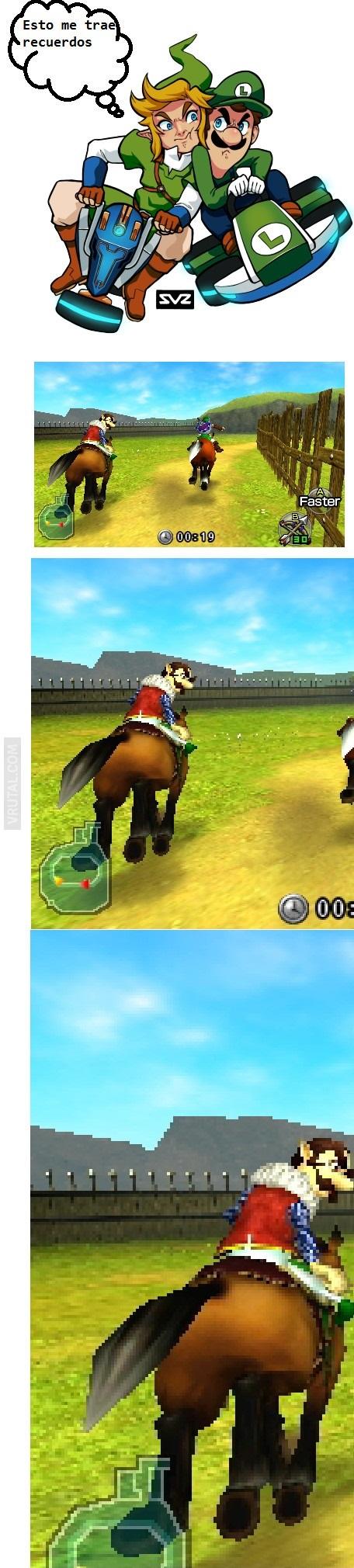 Luigi y Link en Mario kart