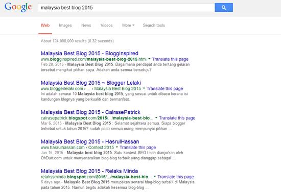 Kedudukan Rank Kontest SEO Malaysia Best Blog 2015