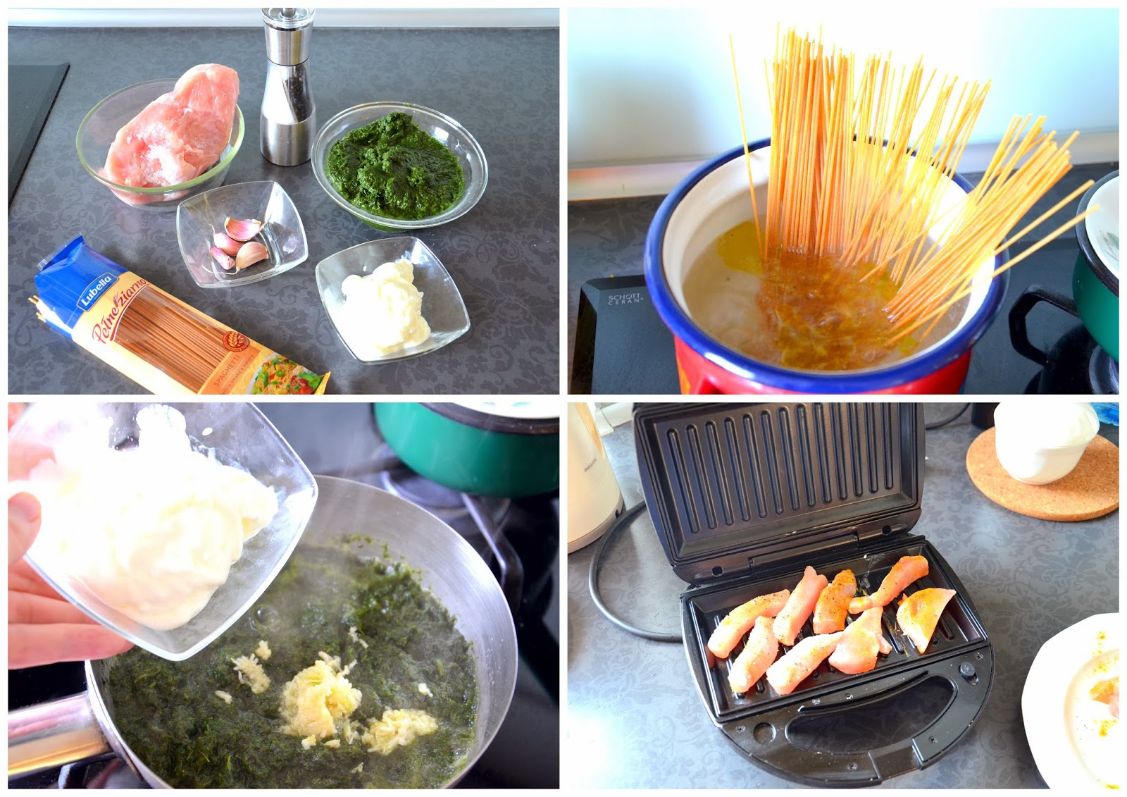 COOKING : PASTA WITH SPINACH AND GRILLED TURKEY