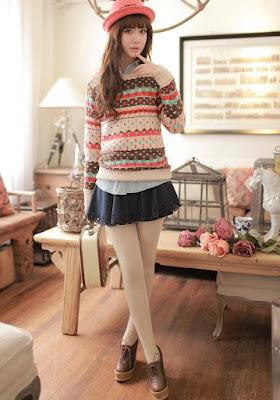 model baju musim dingin sweater korea cantik
