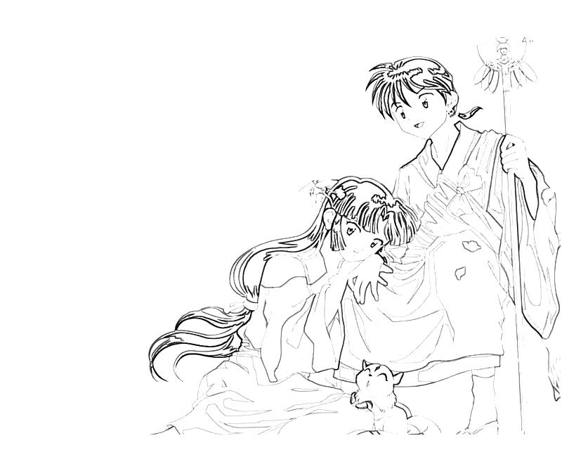 Printable InuYasha Sango Character Coloring Pages title=