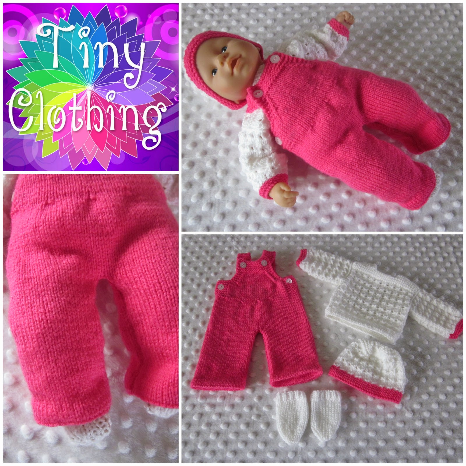 Knitting Pattern For Dolls Jumper : Hand Knitted Dolls Clothes: Dungarees and lacy Jumper Set