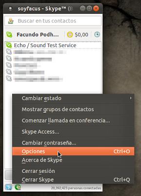 Opciones Skype