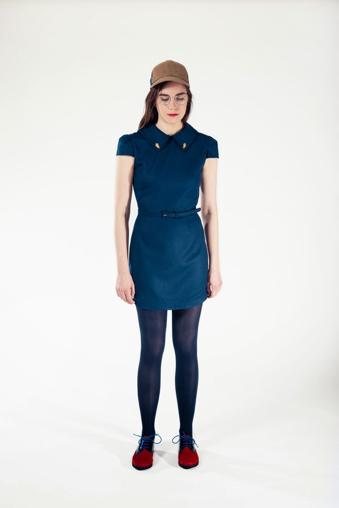 Rachel Antonoff, fall 2013 collection, blue dress, mini dress, peter pan collar, A Coin For the Well