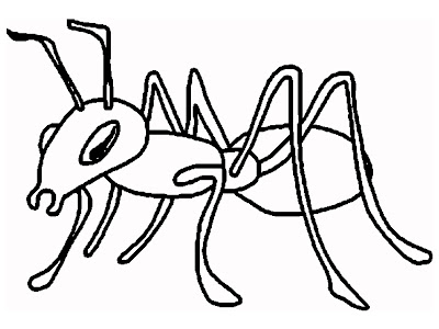 Ant Coloring Page Black and White