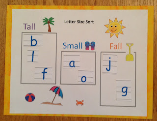 Sorting letters according to if they are tall, small, or fall below the bottom handwriting line.