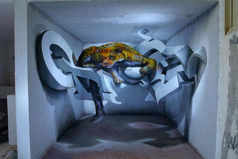 Anamórfico murales de graffiti que se salen de la pared