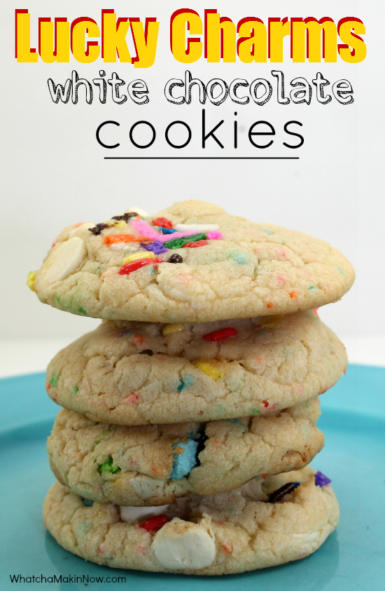 Cake Mix Cookies WITH Lucky Charms and White Chips - colorful and delicious!