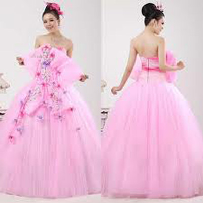 Wedding Gown with Pink Colour ~ Just For Wedding