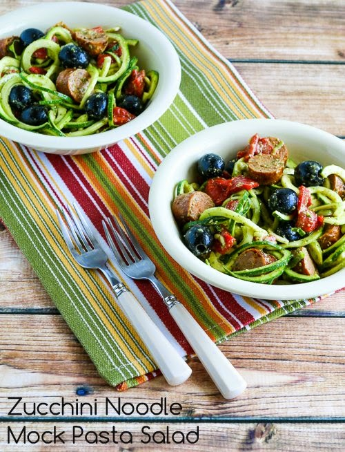 Zucchini Noodle Mock Pasta Salad found on KalynsKitchen.com