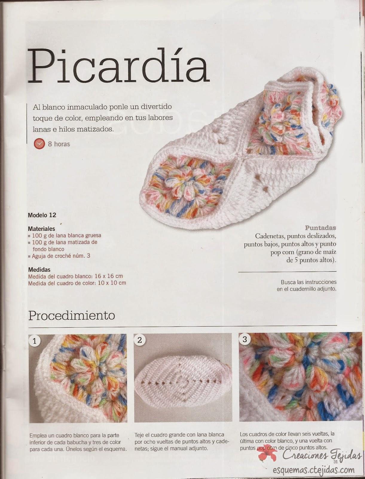 Zapatos a Crochet - Babuchas con Cuadros