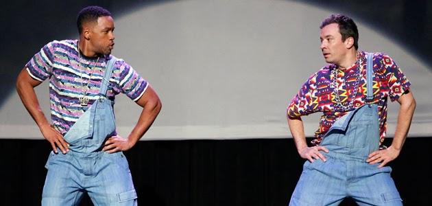 Jimmy Fallon e Will Smith dançando hip hop