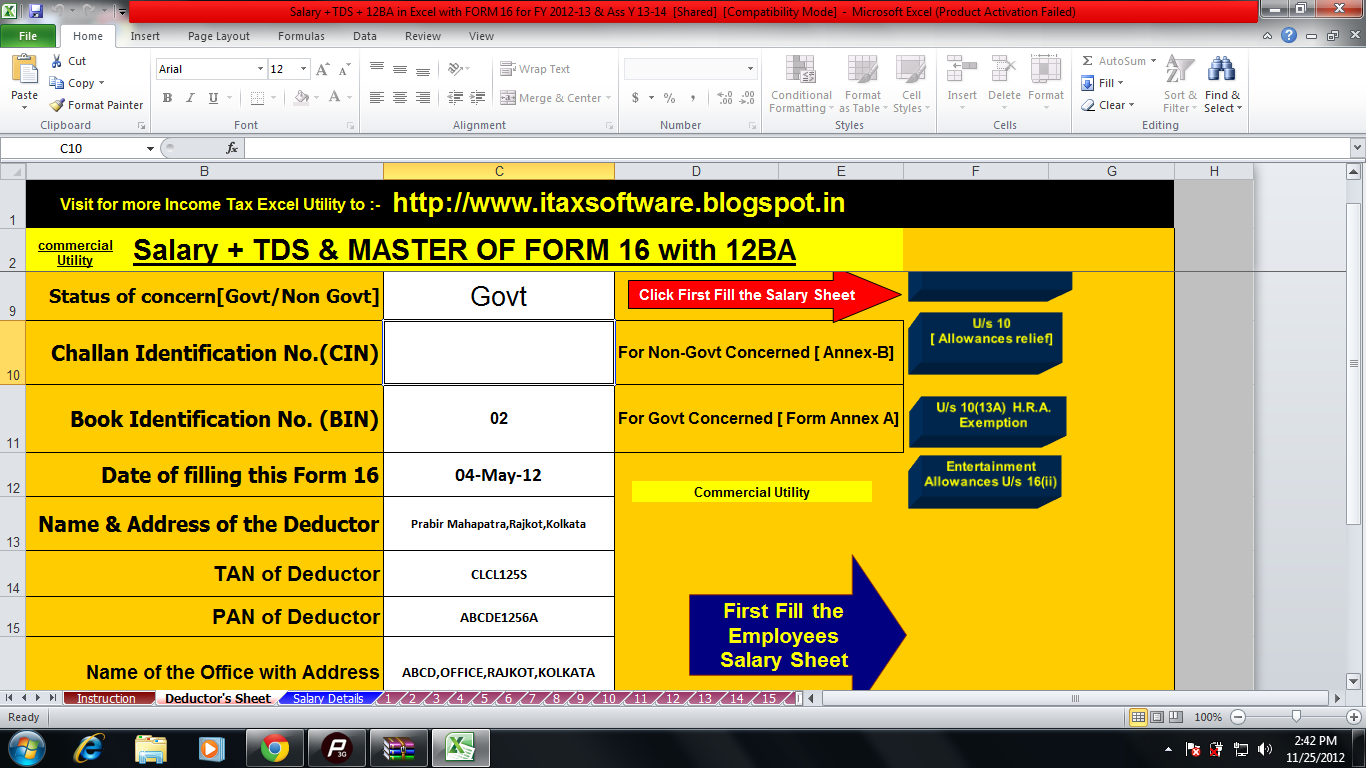 excel based salary calculator   tds on salary  form  12 ba and form 16 utility