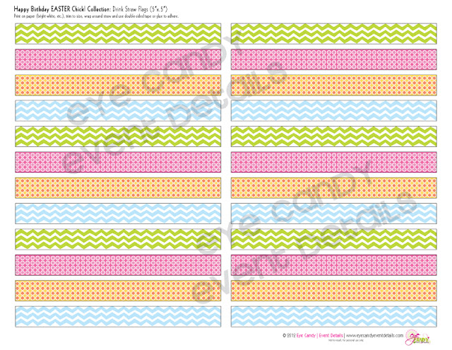 pastel drink flags, easter birthday drink flags, chevron drink flags