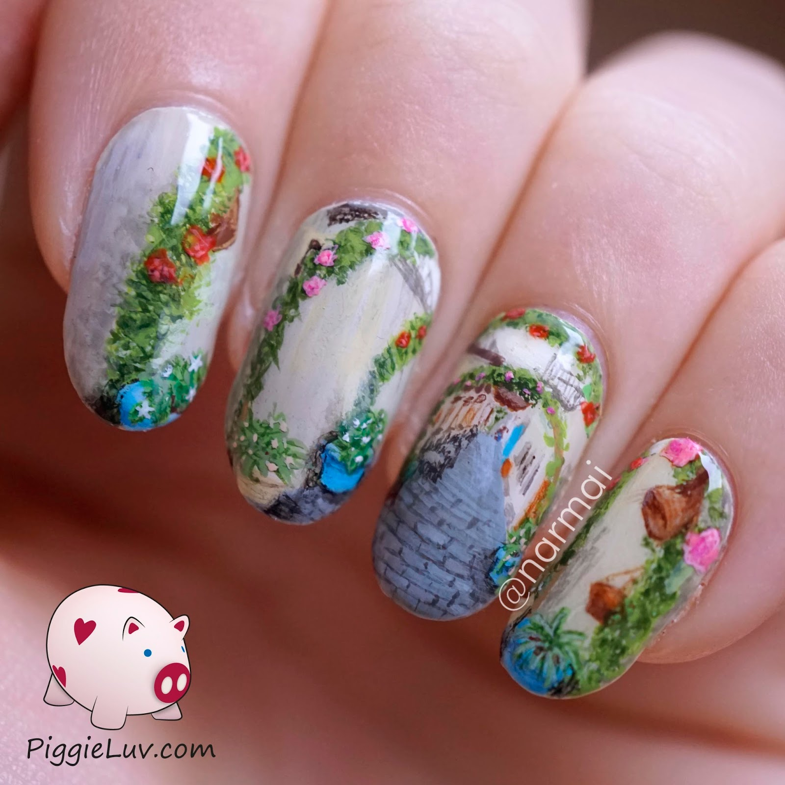 PiggieLuv: Rose alley nail art