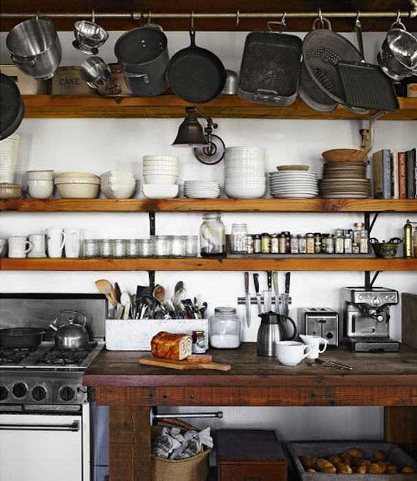 Vintage Home Love: Rustic Open Kitchen Shelving