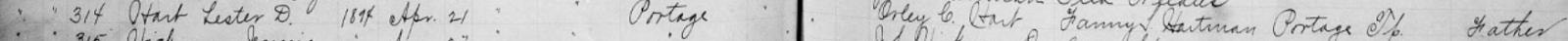 Climbing My Family Tree: Closeup of Lester Dene Hart Birth Record