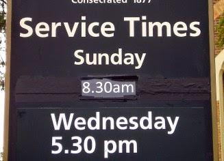 Normal church sign with worship times