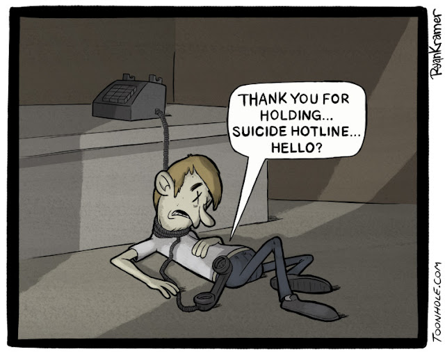 Thank you for holding... Suicide Hotline... Hello?