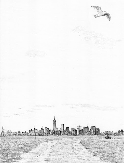 New York skyline pencil sketch WTC1 Manhattan water