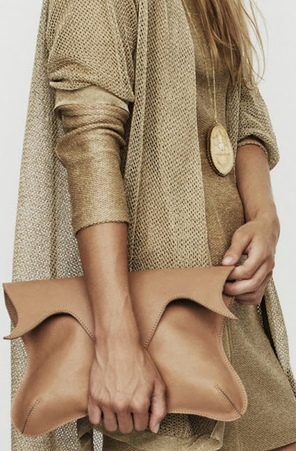 Golden Cardigan And Purse
