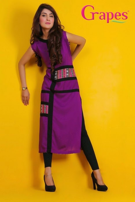 Stand Collar Kurti Designs : Grapes ladies lawn kurta collection