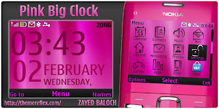 pink big digital clock c3 by zb Download Tema Nokia C3 Gratis