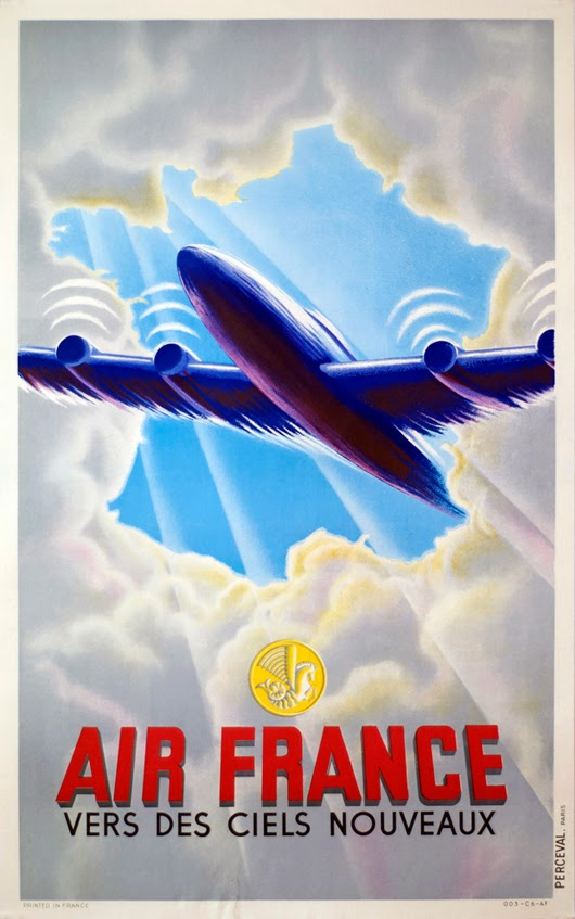 classic posters, free download, free printable, graphic design, printables, retro prints, travel, travel posters, vintage, vintage posters, vintage printables, Air France Airline Posters - Vintage Travel Poster