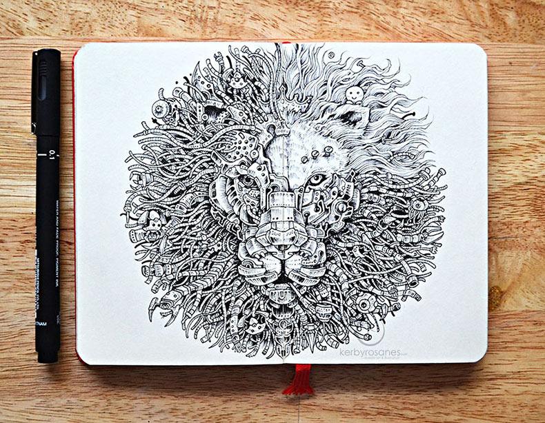 Nuevos Doodles increíblemente detalladas hechos con pluma de Kerby Rosanes