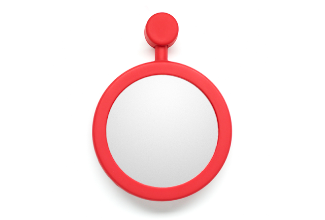 Красное маленькое силиконовое зеркало для ванной комнаты