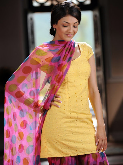 Kajal Agarwal in Yellow colour Patiala Dress, Telugu Girl in Patiala Dress latest photos