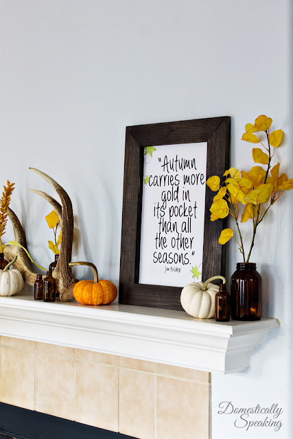 rustic autumn mantel with free printable