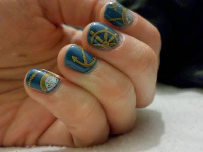 NOTD Nautical Nail Art