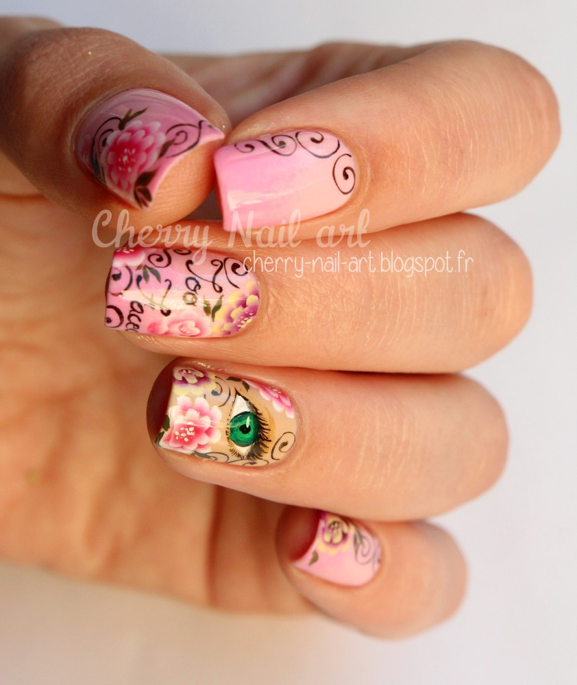 nail art maquillage too faced et fleurs one stroke