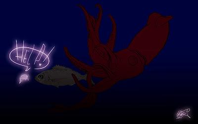 plancton fosforescente mare illuminato luciferasi vignetta