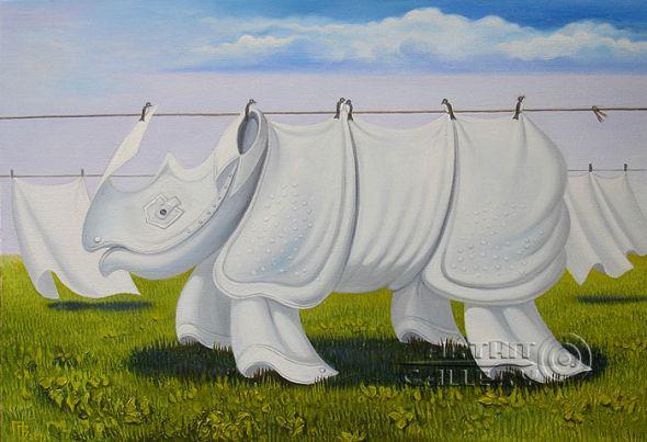 Gennady Privedentsev pinturas arte surreal Rinoceronte de lençóis