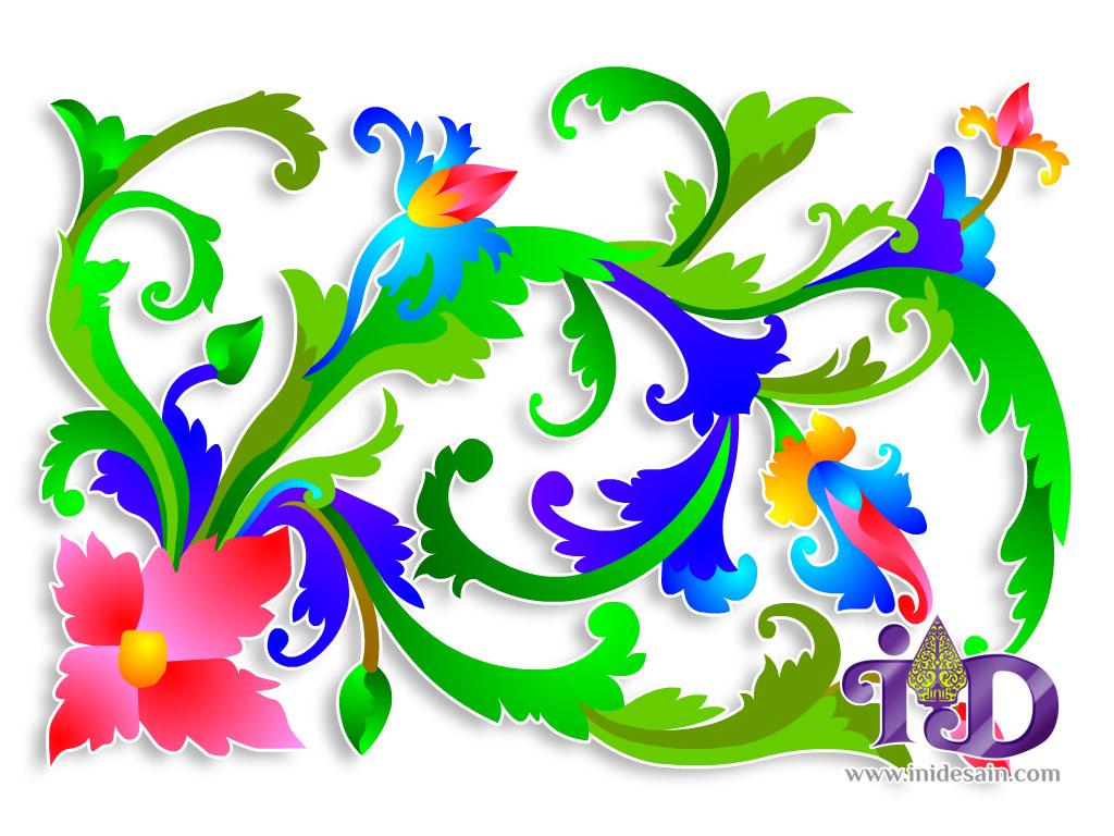 vector batik tendril flower leaf and bud vector batik sulur bunga daun ...