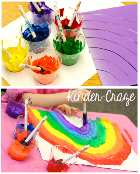 directions for cute painted rainbows in a kindergarten classroom