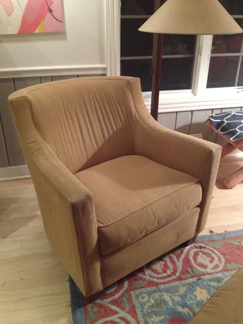 Mustard chair headed for reupholsterer -- The Impatient Gardener