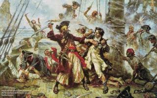 'Barbanegra en lucha contra el teniente Maynard', sin datos de la obra, extraido de retratosdelahistoria.blogspot.com