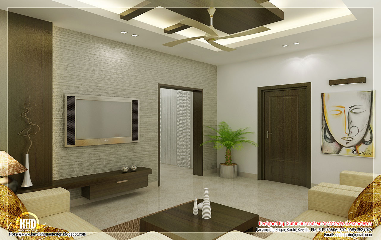 Awesome 3d interior renderings kerala house design for Living room interior in kerala