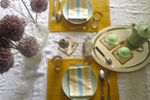 set de table tressage moutarde