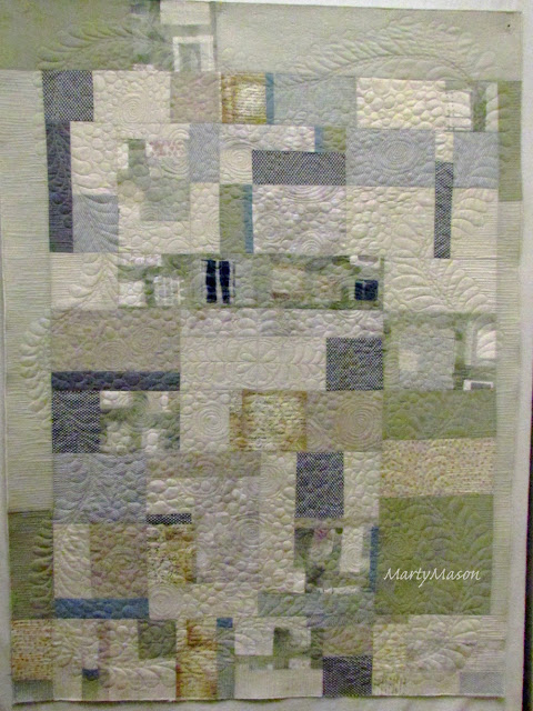 improv piecing, free motion quilting - a neutral modern by Marty Mason