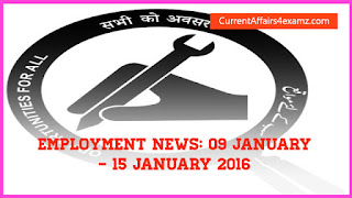 Employment news January 2016